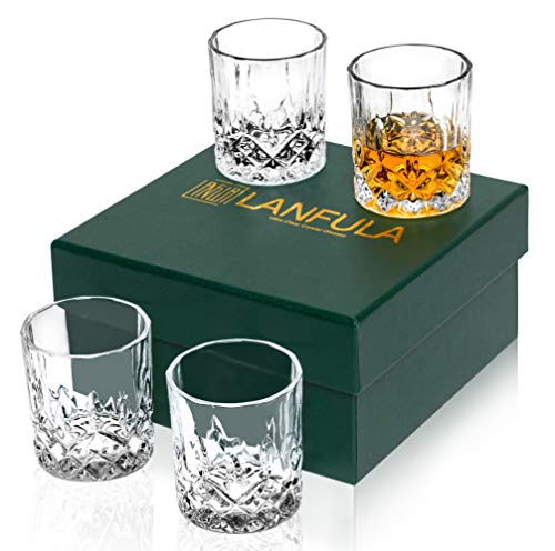 LANFULA Old Fashioned Whiskey Glasses, Set of 4 Premium Crystal Cocktail Tumbler for Bourbon Scotch Whisky Cognac, 10 Oz