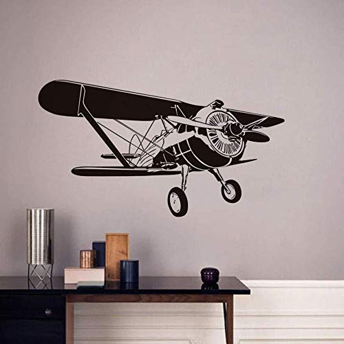 Muursticker voor de muur, zelfklevend, vliegtuig, spiraalvormig, om te knutselen, van vinyl, afneembaar, accessoires voor thuisdecoratie, 3D, 104 x 58 cm