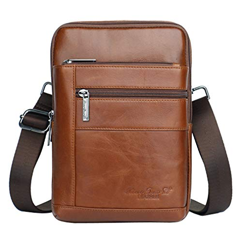 Leather Messenger Bag Vintage Sling Crossbody Pack for Men Women Outdoor Travel Business Hiking Phone Holder Holster Wallet Shoulder Chest Pouch Casual Daypack