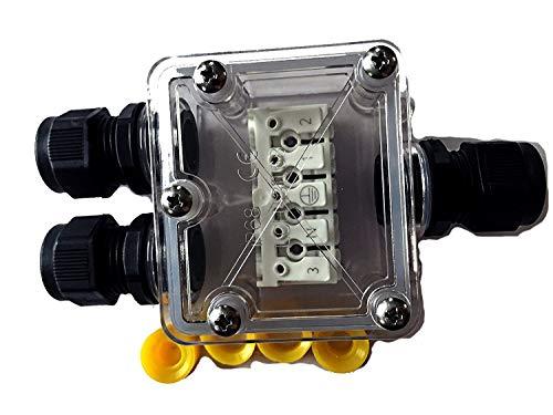 Verbindungsbox klar, NEU mit SCHNELLVERBINDER, Kabelverbinder 3-/5-polig, IP68, Kabelmuffe wasserdicht, fuer 230V oder 12V/24V