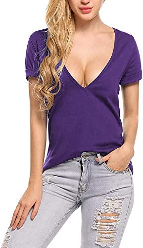UNibelle T-shirt sexy pour femme, col en V, chemisier à manches courtes, T-shirt d'été Tops S-XXL - Violet - L