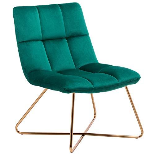 Duhome Sessel Stuhl Gestell Golden gesteppt Lounge Sessel Polsterstuhl Lehnstuhl 8098, Farbe:Petrol, Material:Samt