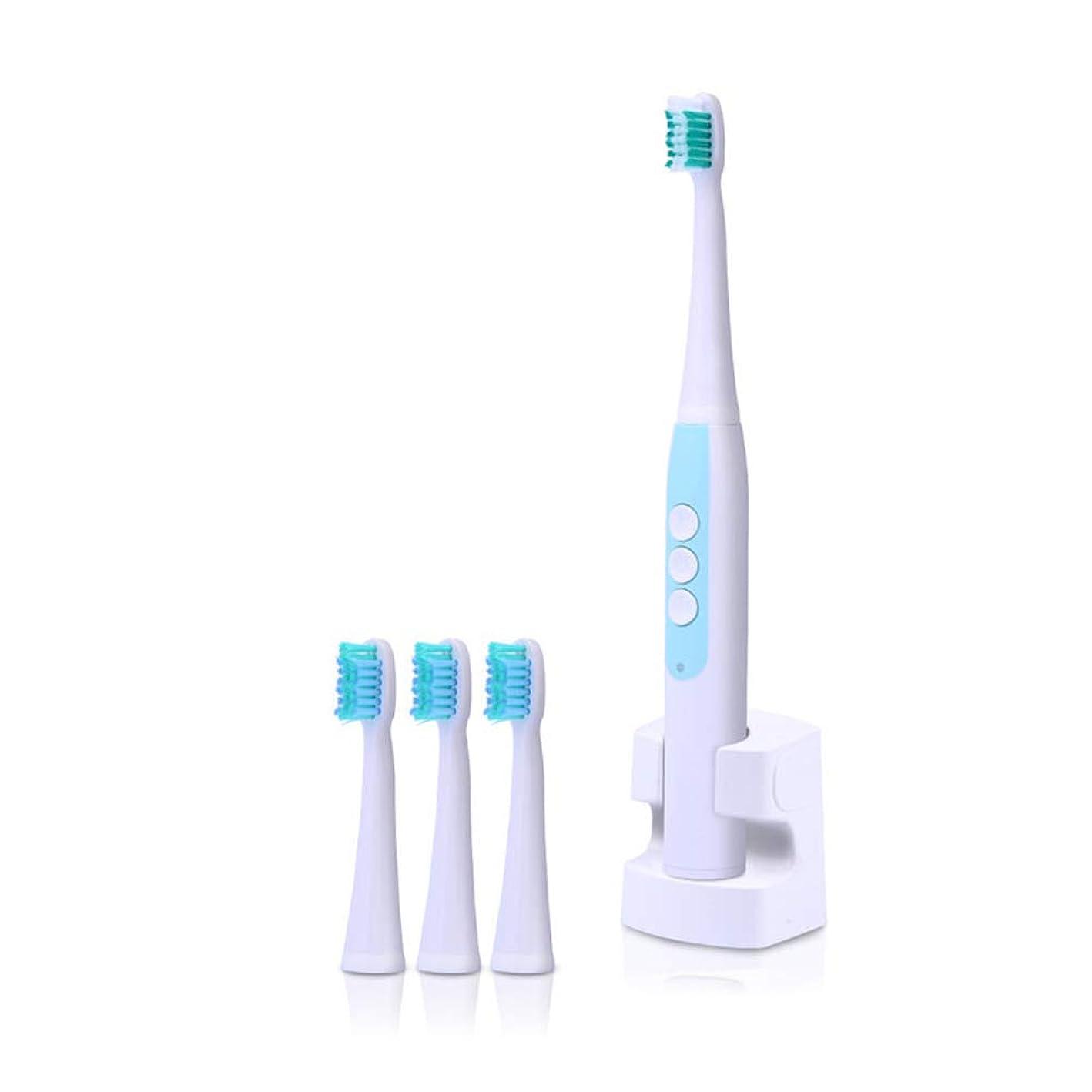 オフェンス過度の樹皮音波電動歯ブラシ防水ワイヤレス充電式4ピース交換可能なブラシヘッドタイマー歯歯ブラシオーラルケア大人用,Blue