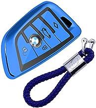 Funda de Silicona para Llave BMW – Cover Carcasa de TPU Cromo Suave para Keyless BMW Serie 1 3 5 7 X1 X3 X4 X5 F30 E30 Protección Llaveros Mando a Distancia (Azul)