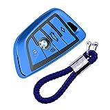 kaser Funda de Silicona para Llave BMW – Cover Carcasa de TPU Cromo Suave para Keyless BMW Serie 1 3 5 7 X1 X3 X4 X5 F30 E30 Protección Llaveros Mando a Distancia (Azul)