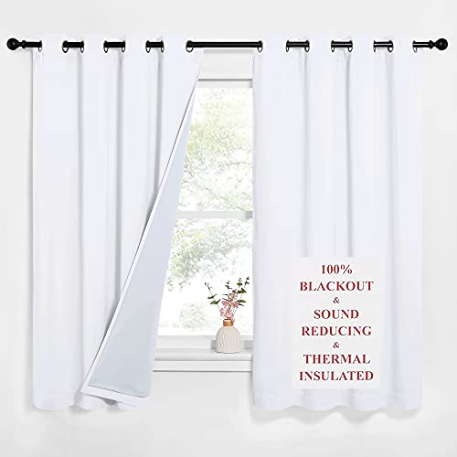 NICETOWN Sound Blocking White 100% Blackout Lined Curtains, 3 Thick Layers Completely Blackout Noise Control Window Treatment Insulated Drapes for Bedroom (2 Panels, 52 Width x 63 Length Each Panel)