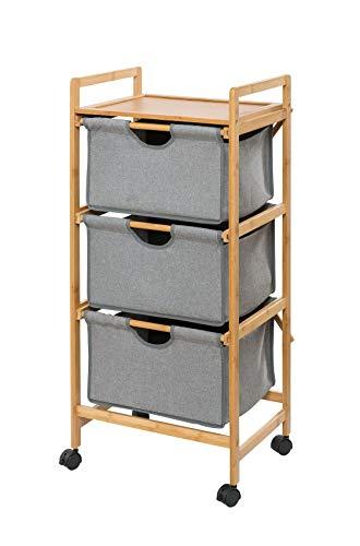WENKO Haushaltswagen mit 3 Schubladen Bahari aus Bambus - Wäschewagen, Rollwagen, Bambus, 44 x 96 x 34 cm, Braun