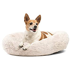 Best Friends by Sheri Calming Donut Cat and Dog Bed in Lux Fur, Machine Washable, Orthopedic Relief – Small 23″X23″ in Oyster