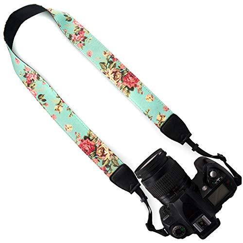 DSLR / SLR Camera Neck Shoulder Belt Strap - Wolven Cotton Canvas DSLR/SLR Camera Neck Shoulder Belt Strap for Nikon Canon Samsung Pentax Sony Olympus or Other Cameras - Green Vintage floral
