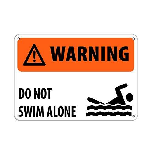 "BIT TINBG Blechschild mit Aufschrift ""Do Not Swim Alone Activity Pools"", Vintage-Stil, Aluminium, 20 x 30 cm"