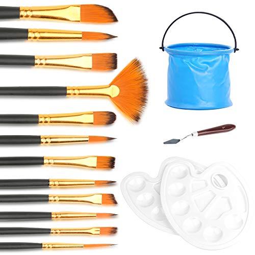 Mostfun Kunst Pinsel Set 12 Stück Pinselset mit Palette und Eimer Aquarell Pinsel für Künstler Malbegeisterte