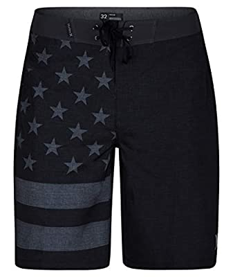 "Hurley Men's Apparel Phantom Cheers USA Flag 20"" Boardshort Swimwear, Black A, 32"""
