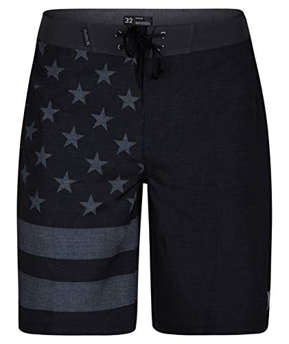 "Hurley Men's Apparel Phantom Cheers USA Flag 20"" Boardshort Swimwear, Black A, 40"""