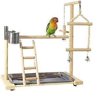 Nrpfell Papegoja lekstativ med kopp leksaker bricka fågel sväng klättring hängande stege bro trä nymfparabol lekplats fåge...