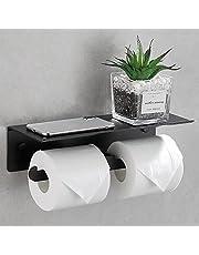 Toiletrolhouder Wandmontage, Toiletrolhouder met plank, Zwarte toiletpapierhouder, Ruimte Aluminium toiletrolhouder, Dubbele weefselhouder voor badkamer en keuken