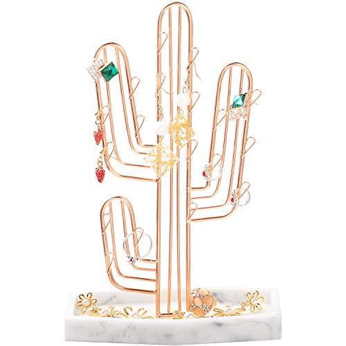 ROSA&ROSE Soporte de Metal para Joyas Soporte de Exhibición de Pendientes Organizador de Joyas para Collares, Pulseras (Oro Rosa)