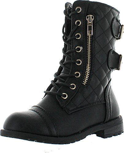 JJF Shoes Mango-79 Kids Black Combat Lace Up Quilted Dual Buckle Zip Decor Mid Calf Motorcycle Boots-4