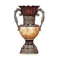 LZQBD 居間のためのバラツキ、背の高い床の花瓶の装飾、屋内の台所のオフィスの結婚式の贈り物のための貝のための貝の密着貝のためのモダンな大きな樹脂二重耳花瓶,単一の花瓶