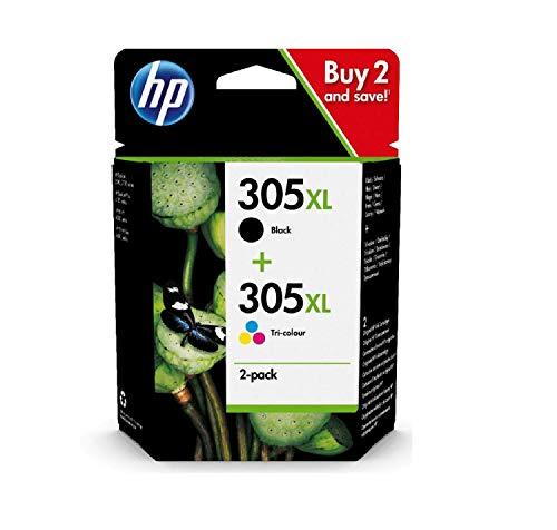 HP 305XL Multipack 6ZA94AE Cartucce Originali, ad Alta Capacità, per Stampanti a Getto di Inchiostro HP DeskJet Serie 2700, 4100, ENVY Serie 6020, 6030, 6400 e 6430, Nero e Tricromia