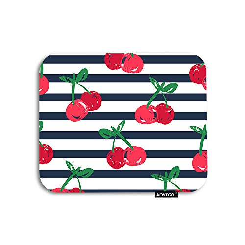 AOYEGO Cherry Mouse Pad Nature Fruit Red Cherries with Green Leaves in Black White Stripes Gaming Mousepad Rubber Large Pad Non-Slip for Computer Laptop Office Work Desk 9.5x7.9 Inch