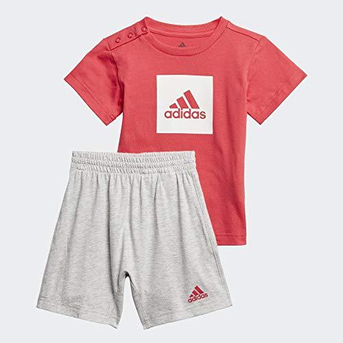 adidas I Logo Sum Set Tuta, Unisex bimbi, Top:Core Pink/White Bottom:Light Grey Heather/Core Pink S17, 2-3Y