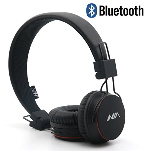 GranVela X2 Lightweight Retro Foldable Kids Wireless Bluetooth 4.2 Headphones with FM Radio, TF Card MP3 Player and Microphone (Black)
