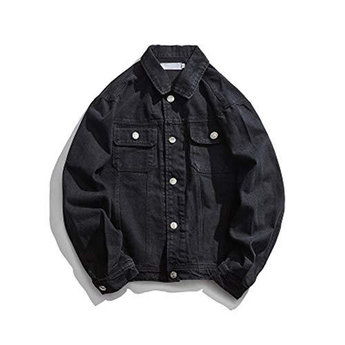 Lushi Fashion - Chaqueta vaquera suelta con múltiples bolsillos con costuras en la parte superior Negro Negro ( L