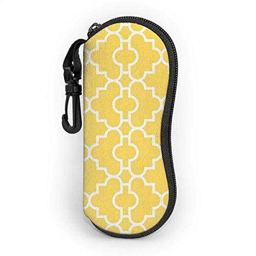 sherry-shop El estuche de gafas de quatrefoil perfecto de color amarillo mostaza protege y almacena gafas de sol, anteojos de lectura y la mayoría de las gafas