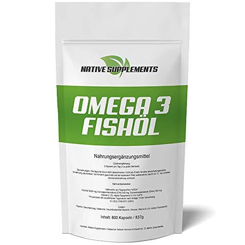 Omega 3 Fischöl-Kapseln - XXL Bulk - 3-fache Menge - 600 Softgel-Kapseln - Preis-Hit Nr. 1 - 3000 mg reines Omega 3 - Ohne Zusätze mit 54% EPA + 36% DHA + Vitamin E - Essentielle Fettsäuren