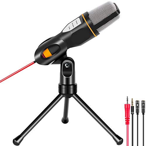 Microphone for Computer, Professional Recording Condenser Microphone Compatible with PC, Laptop, iPad, iPhone, Mac-Recorder Singing YouTube Skype Gaming (3.5mm PC Microphonewith Mic Stand)