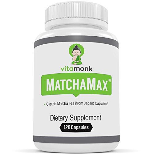 "MATCHAMAXâ""¢ Organic Japanese Matcha Capsules - Pure Organic Matcha Green Tea Pills for Smooth Zen-Like Energy and Natural Mood Boost - Vegan Matcha Supplement Packed with Antioxidants - 120ct"