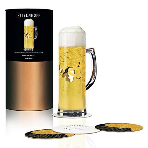 RITZENHOFF Seidel Bierkrug 0,5 l von Virginia Romo, aus Kristallglas, 500 ml, mit fünf Bierdeckeln
