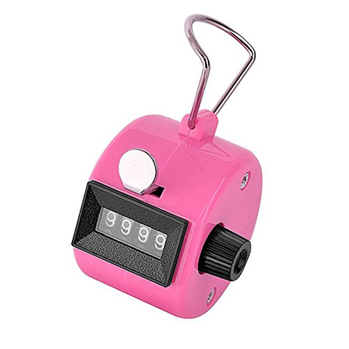 SPHTOEO 4-Digit Handheld Tally Counter Manual Mechanical Palm Clicker Counter Tracker (Pink)