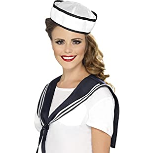 Smiffy's Adult Women's Sailor Kit, Scarf and Hat, Troops, Serious Fun, One Size, 32897:Porcelanatoliquido3d