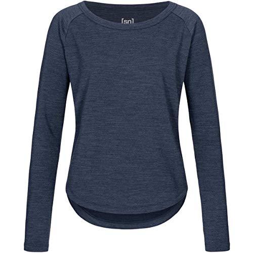 super.natural Bequemer Damen Pullover, Mit Merinowolle, W ESSENTIAL CREW, Größe: XS, Farbe: Dunkelblau meliert