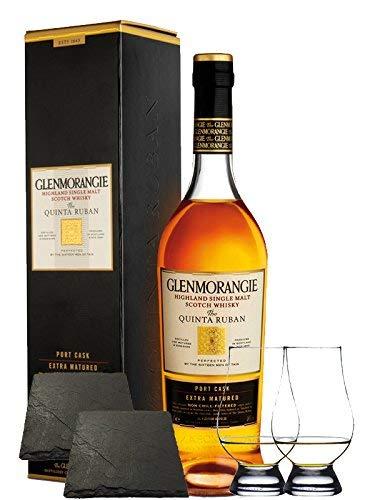 Glenmorangie 14 Jahre The Quinta Ruban Port Cask Finish 0,7 Liter + 2 Glencairn Gläser + 2 Schieferuntersetzer