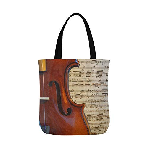 Musical Curves Violin against Music Notes Canvas Tote Bag