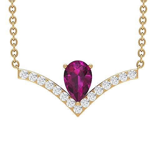 Collar con colgante de Chevron de 3/4 CT con solitario rodolita y diamantes (6 x 4 mm de corte de pera) rojo