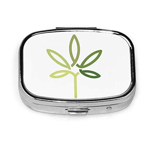 Cannabis Leaf Line Art Design Healthcare Medical Cbd Nature Custom Personalized Square Pill Box Decorative Box Vitamin Container Pocket Or Wallet
