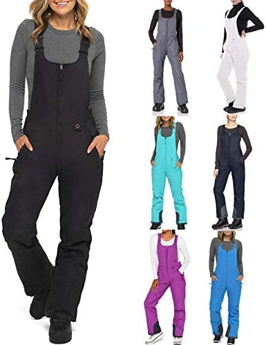 TopLAD Womens Snow Pants Adjustable Back Strap Pants Women s Insulated Bib Overalls Solid Color product image