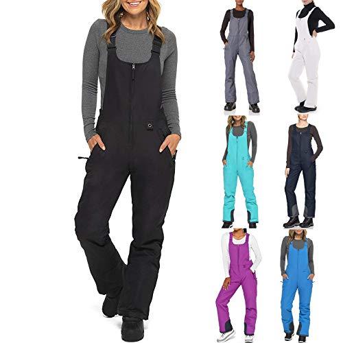 Tanbro Womens Snow Pants, Essential Insulated Skiing Bibs Waterproof Overalls Ski Bibs Pants with Pocket Black