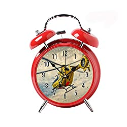 COPUEA Creative Child Retro Alarm Clock Twin Bell Alarm Clock Backlight Desk Clock Red Alarm Clock GiftYellow Helicopter