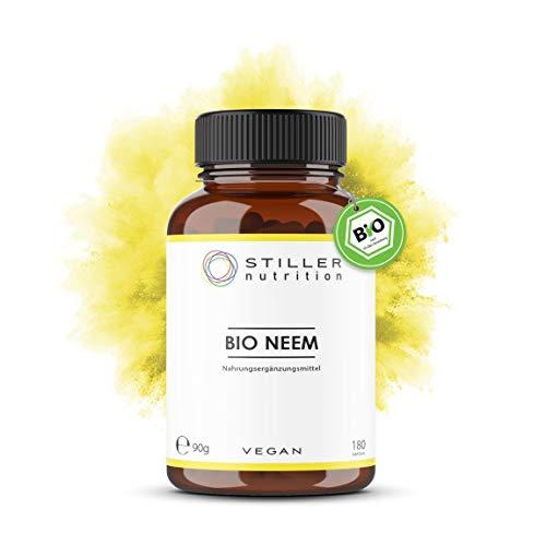 STILLER nutrition® Premium Bio NEEM 500mg Kapseln - 180 Kapseln - Hochdosiert - Neembaum - Niembaum – Ayurveda Nahrungsergänzung - Bio-Qualität - Kontrolliert in Deutschland