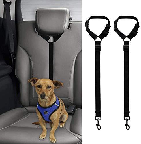 Aidiyapet犬 シートベルト ヘッドレスト 車専用リード 安全ベルト 長さ調整可能 ペットドライブ用 突然の飛び出し防止(2点セット)