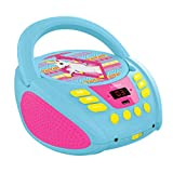 Lexibook Boombox CD-Player Einhorn Unicorn, AUX-Eingangsbuchse, USB-port, AC-Betrieb oder Batterie, Blau/Pink, RCD108UNI_10 -