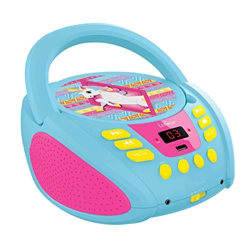 Lexibook Boombox CD-Player Einhorn Unicorn, AUX-Eingangsbuchse, USB-port, AC-Betrieb oder Batterie, Blau/Pink, RCD108UNI_10
