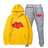 FHKGCD Sudaderas con Capucha Sweatpant Suits Mujer Hombre Pullover Two Pieces Set-Yellow1, S