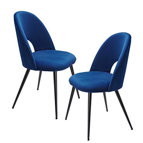 FineBuy Esszimmerstuhl 2er Set Samt Blau Küchenstuhl mit Schwarzen Beinen | Schalenstuhl Skandinavisches Design | Polsterstuhl mit Stoffbezug | Stuhl Gepolstert