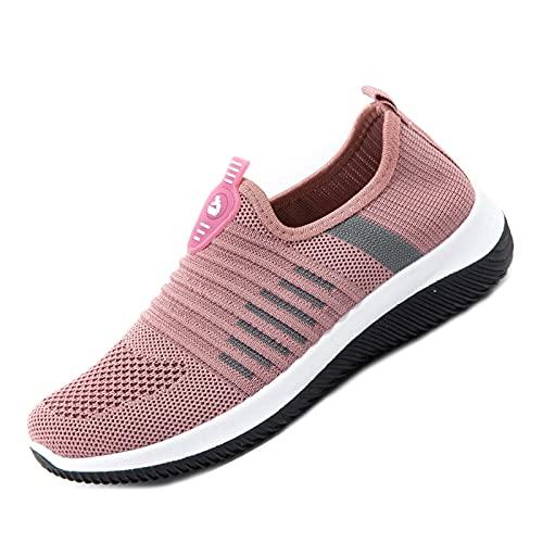 Zapatillas deportivas deportivas para correr para mujer, zapatillas de deporte para caminar, zapatillas de tenis ligeras, Pink, 38 EU