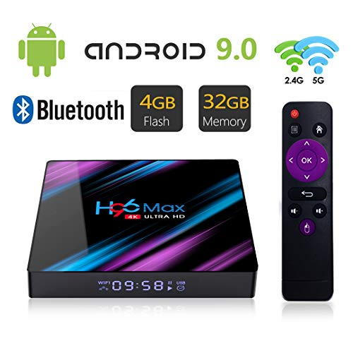 Android 9.0 TV Box 4GB 32GB H96 Max RK3318 Quad Core 64 bits 4K Smart Set Top Box Support 2.4G/5G Dual WiFi/H.265/USB 3.0/BT 4.0/100M LAN (Upgraded)